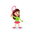 smiling little girl character playing tennis or vector image vector image