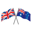 uk and australian flags crossed alliance vector image vector image