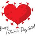 valentines corona virus heart vector image vector image