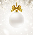 white christmas bauble with glitter gold bow vector image vector image