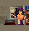 witch cooking potion vector image