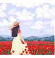 young woman enjoys poppies field vector image vector image