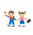 down syndrome boy and girl go to school vector image