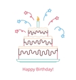Concept of a large birthday cake with a candle and vector image