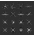 Set of sparkles star on black background vector image
