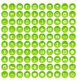 100 motorsport icons set green circle vector image vector image