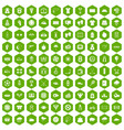 100 tennis icons hexagon green vector image vector image