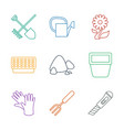 9 gardening icons vector image vector image