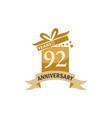 92 years gift box ribbon anniversary vector image vector image