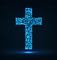 abstract cross of glowing particles symbol vector image