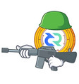 army decred coin character cartoon vector image vector image