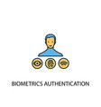 biometrics authentication concept 2 colored line vector image vector image