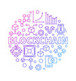 blockchain technology colorful line round vector image vector image