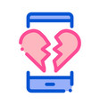 broken heart icon outline vector image vector image