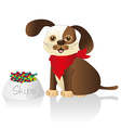 brown dog with red scarf and food container issola vector image vector image