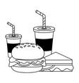 burger sandwich soda cups vector image