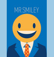 businessman with a smiley face instead his head vector image vector image