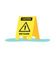 cartoon caution wet floor yellow sign vector image