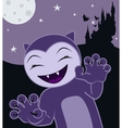 Cartoon Halloween cat on a night background vector image vector image