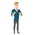 caucasian confused groom shrugging shoulders vector image vector image