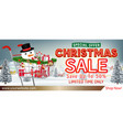christmas sale banner with gift box in cart vector image vector image