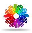 colorful hands in circle group icon vector image vector image