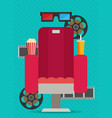concept design on movie watching with cola vector image vector image