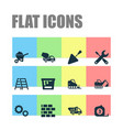 construction icons set collection of tractor vector image vector image