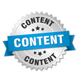 content 3d silver badge with blue ribbon vector image vector image
