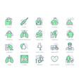 coronavirus flu virus symptoms line icons vector image vector image