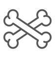 Cross bone line icon halloween and danger