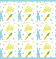 cute happy easter pattern with rabbits vector image vector image