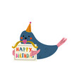 cute whale character wearing party hat holding vector image vector image