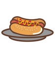 dish with delicious hot dog vector image vector image