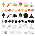 easter is a christian holiday cartoon icons in set vector image vector image