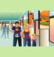 family going shopping vector image vector image