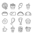 Fast food art line icons vector image vector image