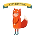 Fox kid costume isolated vector image vector image