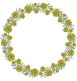 green wreath with flowers on white background vector image