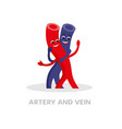 healthy vein and artery cartoon character isolated vector image vector image
