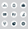 job icons set with pie bar presenting man vector image vector image
