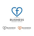 letter f with heart outlines logo vector image vector image