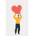 man with big red heart in hands vector image vector image