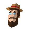 man with hipster style character icon imag vector image