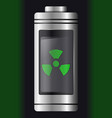 metal with glass battery green nuclear symbol vector image vector image