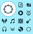 music icons set collection of music earmuff vector image vector image