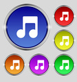 Music note icon sign Round symbol on bright vector image vector image