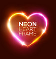 neon heart sign 3d retro light signboard vector image vector image