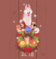 new year 2018 card with cute dogs over fir garland vector image vector image