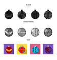 new year toys black flat monochrome icons in set vector image